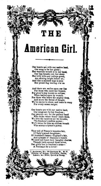 The American girl. J. Andrews, Printer, ... 38 Chatham St. N. Y