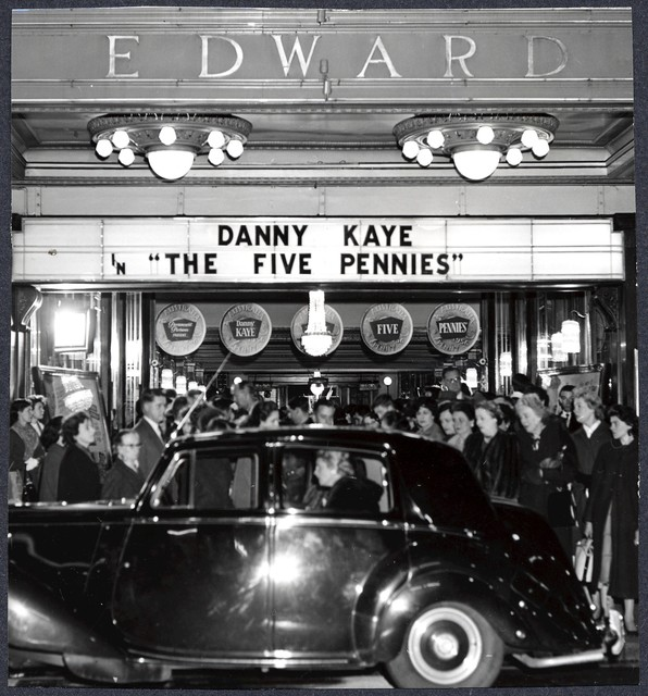 "The  arrival of the Governor, Sir Eric Woodward, and Lady Woodward at the Prince Edward Theatre [Sydney] prior to the premiere of ""The Five Pennies."" The occasion attacted great crowds of spectators, [June 25, 1959]"
