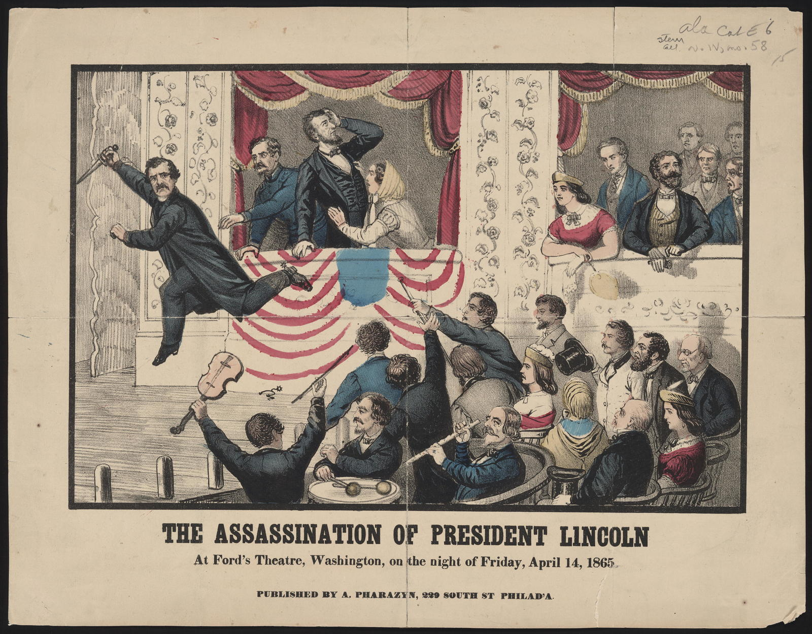 The assassination of President Lincoln. At Ford's Theatre, Washington, on the night of Friday, April 14, 1865, [Illustration].