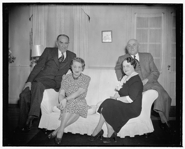 The Bankheads from Alabama. Washington, D.C., April 21. The Bankhead brothers, Speaker of the House William B., and Senator John H., 2nd, find time during the busy sessions of congress to get together with their wives once a week for a quiet family dinner and chat about the news from their home state of Alabama. Speaker and Mrs. Bankhead, left, and Senator and Mrs. Bankhead