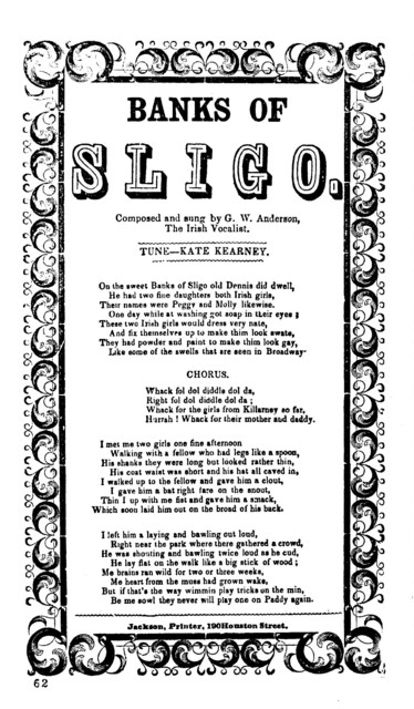 The  Banks of Sligo. Composed and sung by G. W. Anderson Irish Vocalist. Tune-Kate Kearney. Jackson, Printer, 190 Houston Street