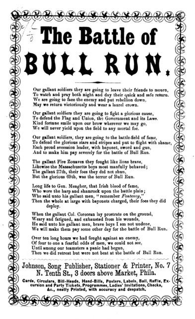 The battle of Bull Run. Johnson, Song publisher, Stationer, &c., 3 doors above Market, Phila
