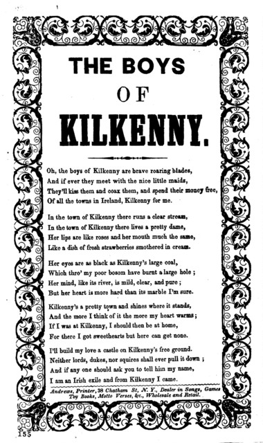 The boys of Killkenny. Andrews, Printer, 38 Chatham St., N.Y., Dealer in Songs, Games, Toy Books, Motto Verses, &c., Wholesale and Retail