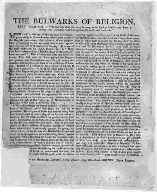 The bulwarks of religion ... Boston. Printed by Nathaniel Coverly, Corner Theatre Alley, Milk Street. 5th ed. [n. d.].
