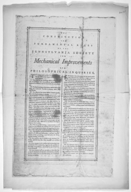 The constitution and fundamental rules of the Pennsylvania society for mechanical improvements and phiosophical inquiries. [n. d.].