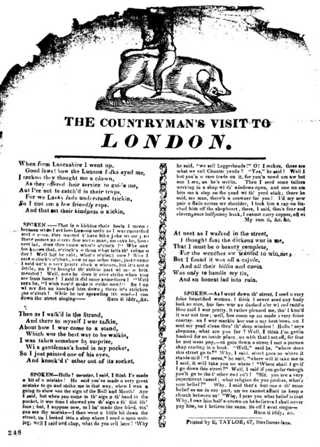 The countryman's visit to London. Printed by E. Taylor, 67, Steelhouse-lane