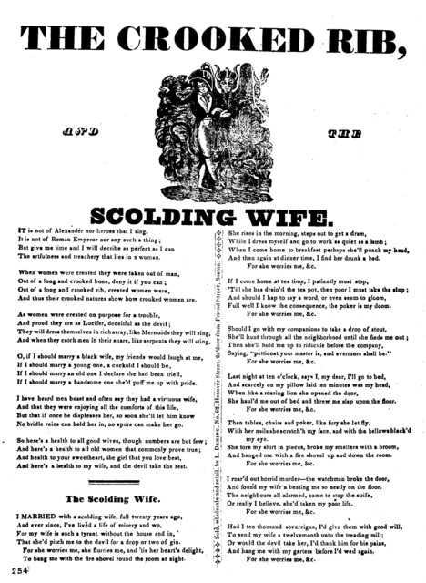 The crooked rib, and The scolding wife. Sold, Wholesale and retail, by L. Deming. No. 62. Hanover Street, 2d door from Friend Street, Boston