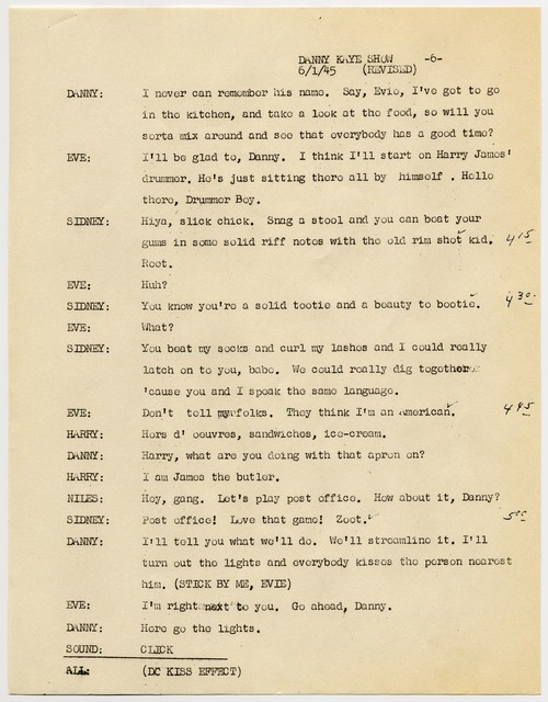 [The  Danny Kaye Show, radio script, June 1, 1945]