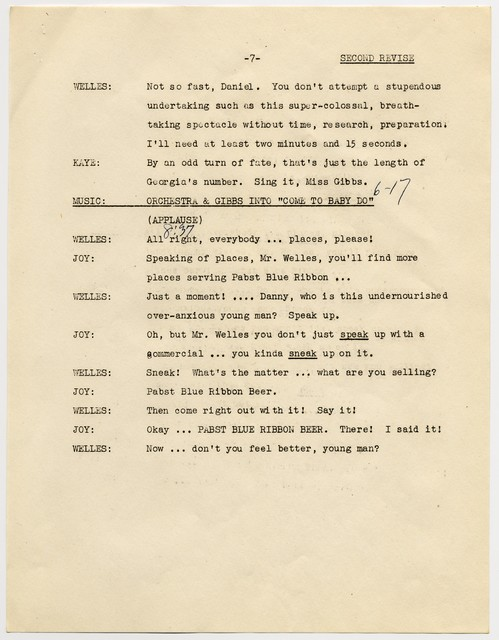 [The  Danny Kaye Show, radio script, March 1, 1946]