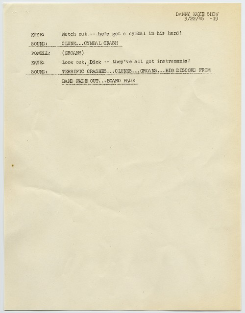 [The  Danny Kaye Show, radio script, March 22, 1946]