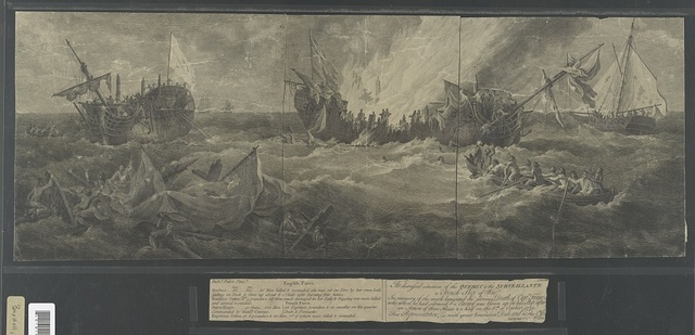 The distressed situation of the Quebec & the Surveillante. A French ship of war