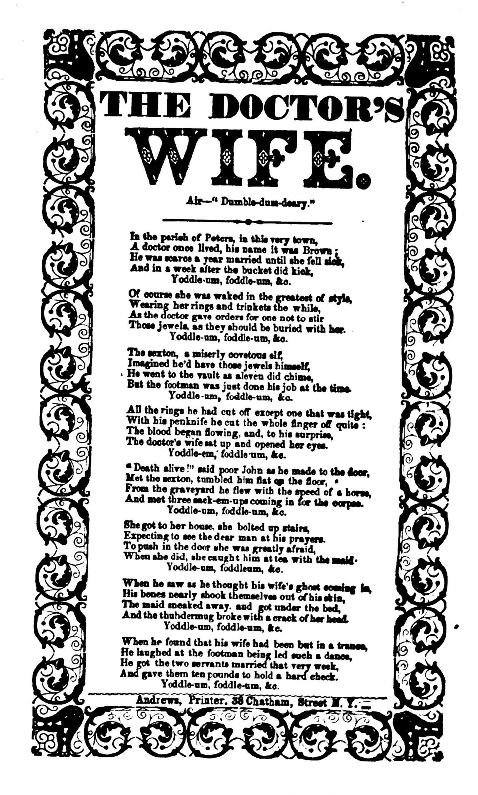 "The doctor's wife. Air--""Dumble-dum-deary."" Andrews, Printer, 38 Chatham Street N. Y"