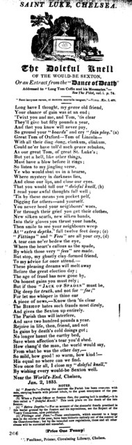 "The doleful knell of the would-be sexton, or, An extract from the ""Dance of death."" M. Faulkner, Printer, Circulating Library, Chelsea"