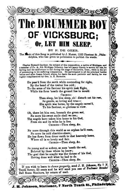 The drummer boy of Vicksburg, or, Let him sleep. By P. De Geer. J. H. Johnson, Stationer, 7 North Tenth St. Phila
