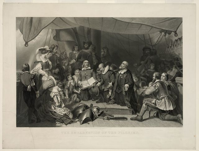 The embarkation of the Pilgrims