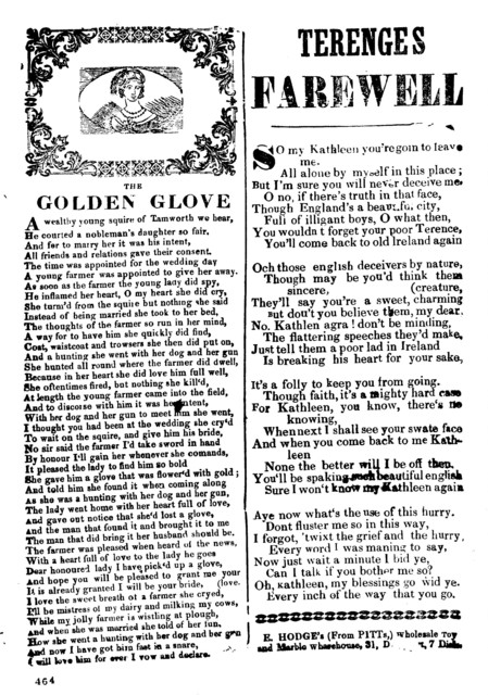 The golden glove. E. Hodge's (From Pitts) Wholesale Toy and Marble Warehouse, 31 D---, 7 Dials