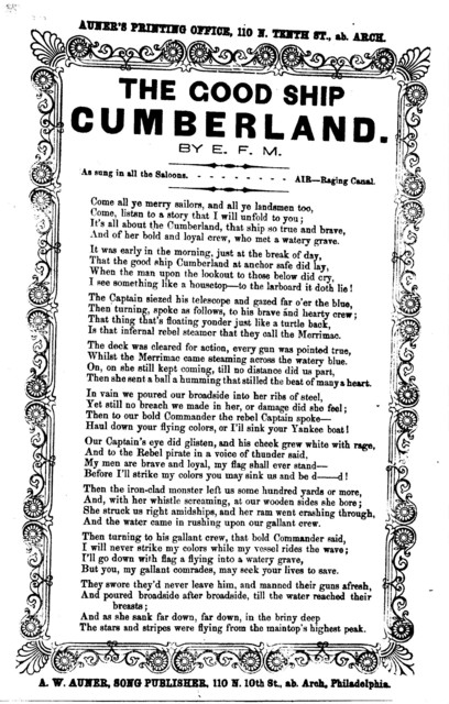 The good ship Cumberland. A. W. Auner, Song Publisher, Philadelphia
