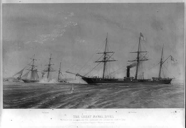 The great naval duel between the Alabama and the Kearsarge off Cherbourg