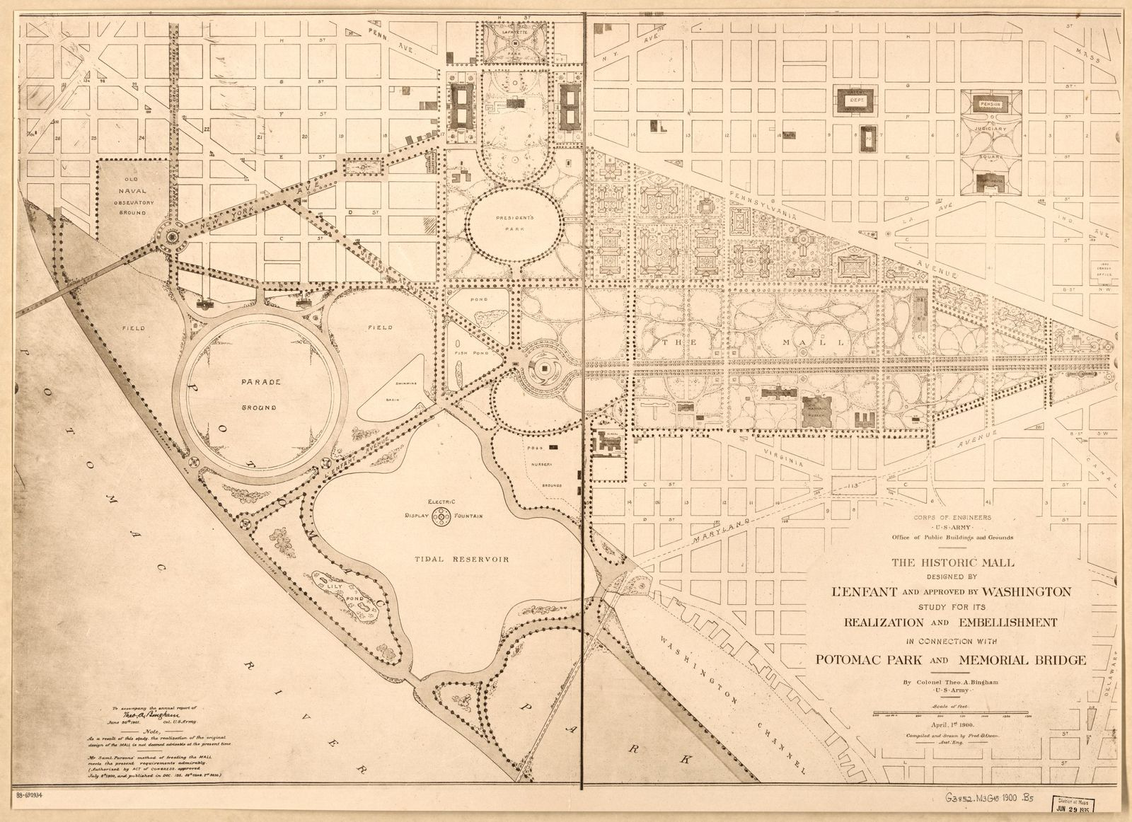 The historic Mall designed by L'Enfant and approved by Washington : study for its realization and embellishment in connection with Potomac Park and Memorial Bridge /