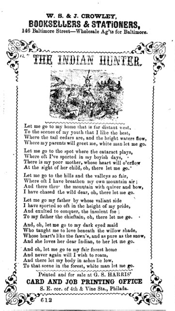 The Indian hunter. Printed and for sale at G. S. Harris' S. E. Cor. of 4th & Vine Sts., Phila