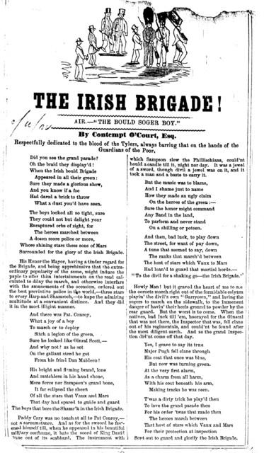 "The Irish brigade! Air.- ""The bould soger boy."""