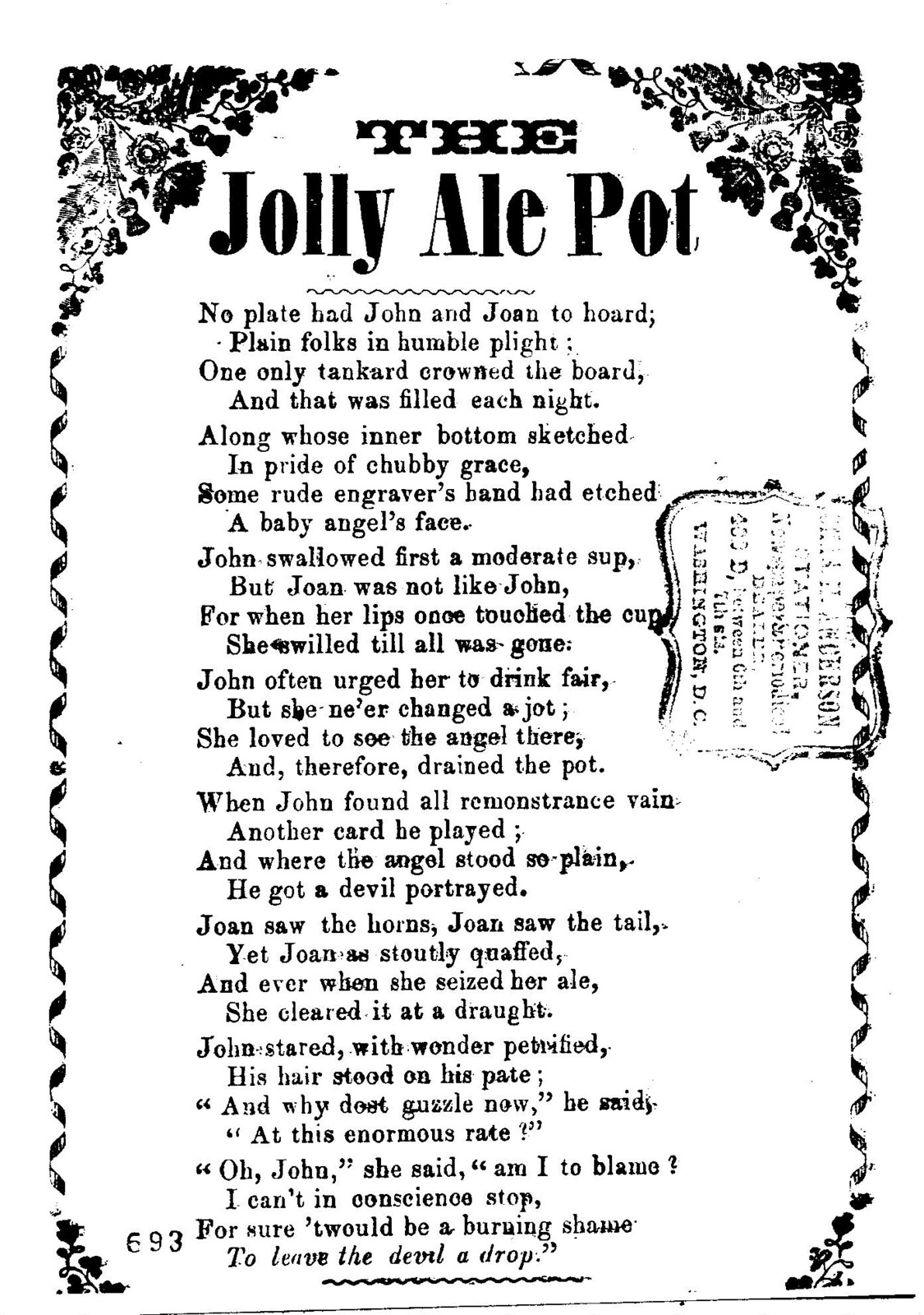The jolly ale pot. Chas H. Anderson, stationer, Newspaper and &c. 402 D. between 6 and 7th. Sts. Washington, D. C
