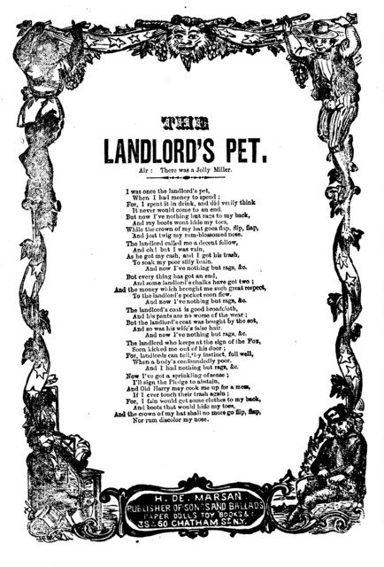 The landlord's pet. H. De Marsan, Air: There was a jolly miller. H. De Marsan, Publisher, 38 & 60 Chatham Street, N. Y