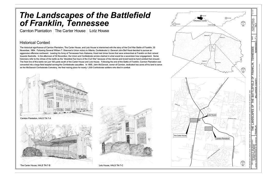 The Landscapes of the Battlefield of Franklin, Tennessee, Franklin, Williamson County, TN