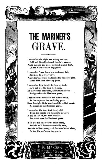 The mariner's grave. H. De Marsan, ... 38 Chatham Street, N. Y