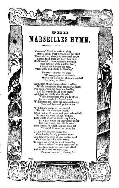 The Marseilles hymn. H. De Marsan. ... 54 Chatham Street, N. Y