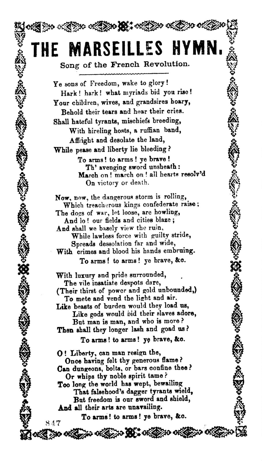 The Marseilles hymn. Song of the French Revolution