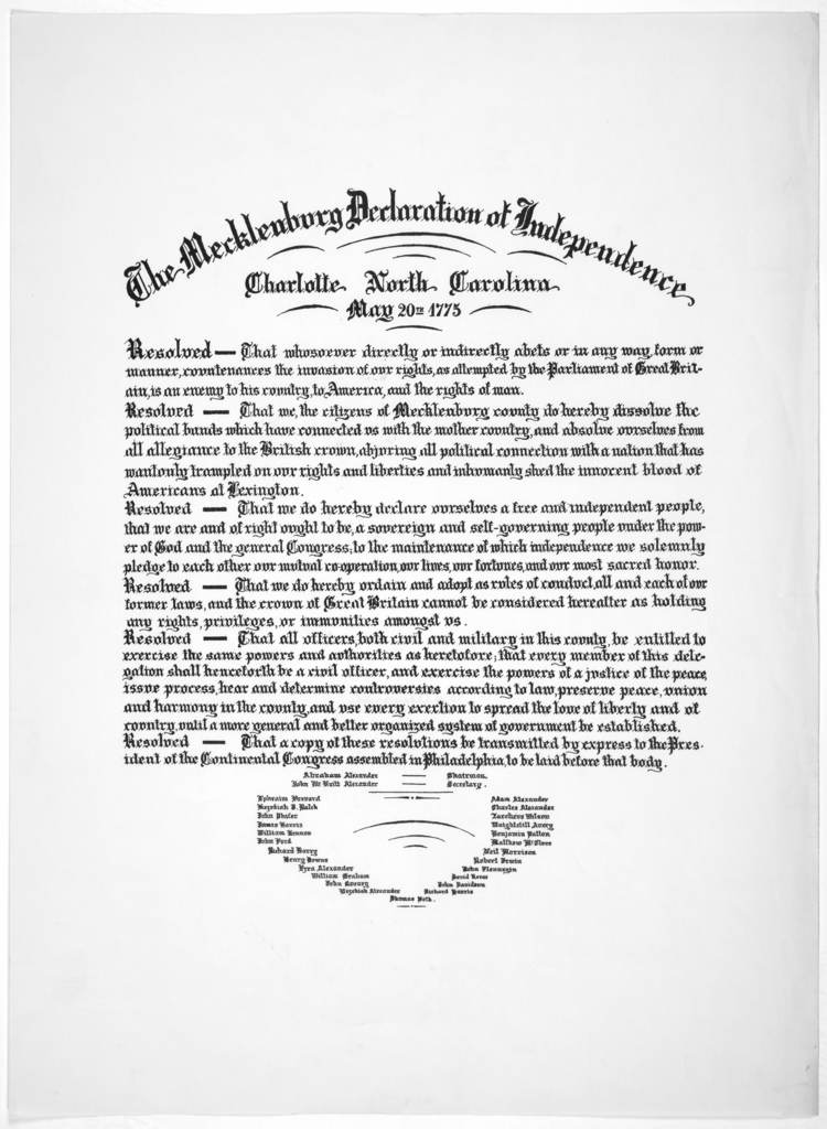 The Mecklenburg declaration of independence Charlotte North Carolina May 20th 1775. [Reprint].