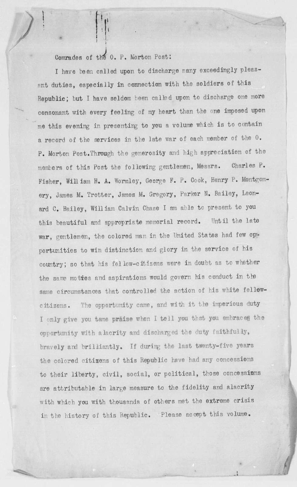 [The Negro] Speech at the Oliver P. Morton Post of the G. A. R.