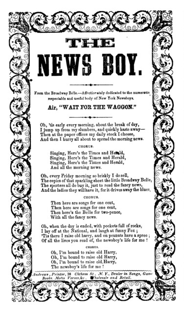 "The news boy. Air, ""Wait for the waggon."" Andrews, Printer, 38 Chatham Street, N. Y"