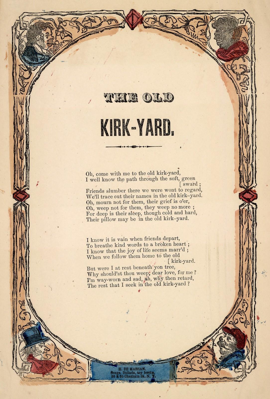 The old kirk-yard. H. De Marsan, Publisher, 38 & 60 Chatham Street, N. Y