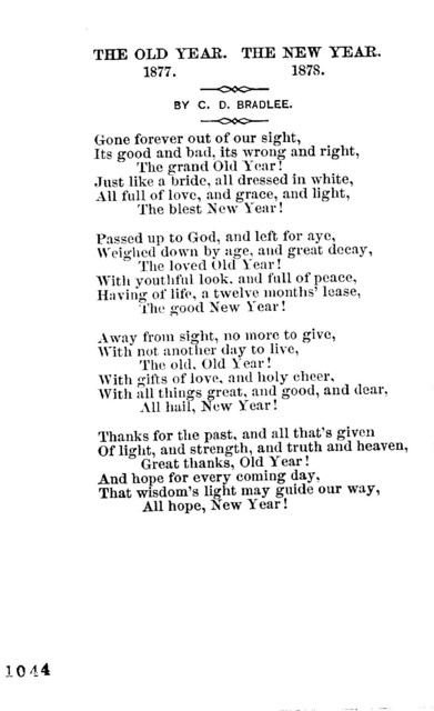 The old year. 1877. The new year. 1878. By C. D. Bradlee