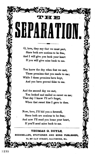 The separation. Thomas G. Doyle, Bookseller, Stationer, and Song Publisher, No. 297 Gay Street, Baltimore, Md