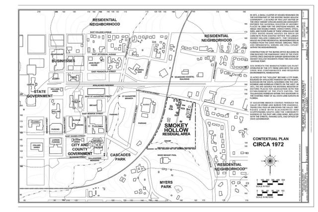 The Smokey Hollow Community, Informal boundaries by street name: North to South: East Jefferson Street to East Van Buren Street. West to East: South Gadsden Street to Marvin Street., Tallahassee, Leon County, FL
