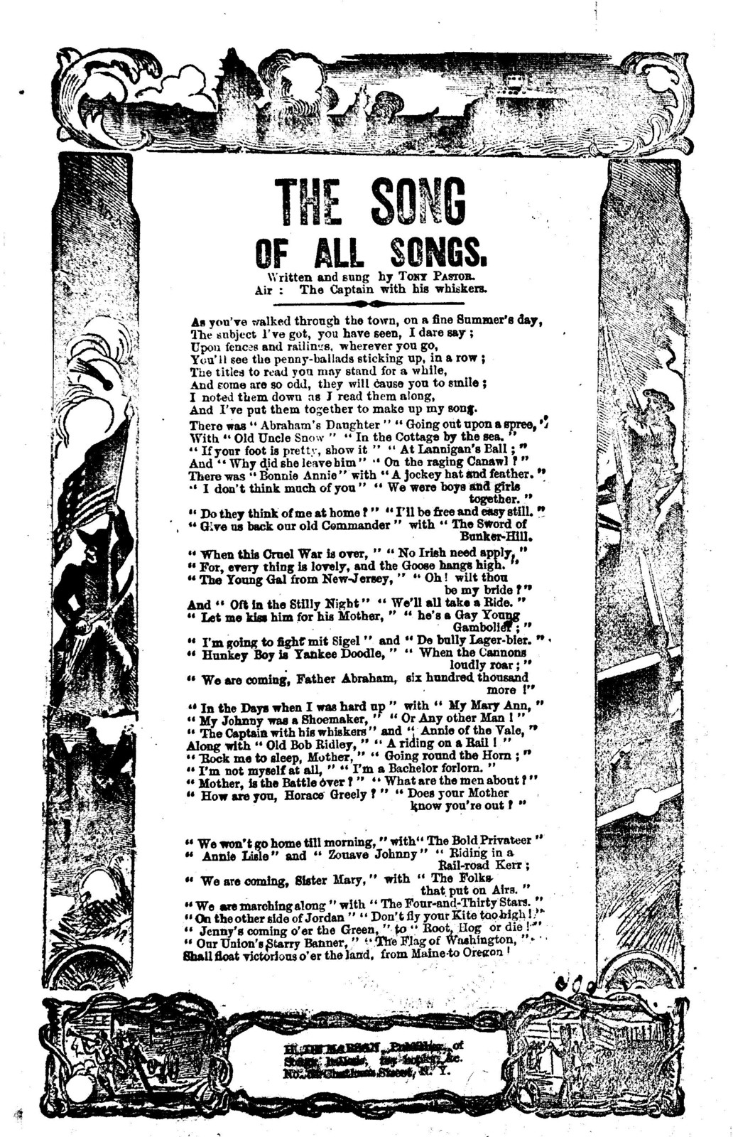 The song of all songs. Written and sung by Tony Pastor. Air: The Captain  with his whiskers. H. De Marsan, ... No. 54 Chatham Street, N. Y - Library  Of Congress Public Domain Image