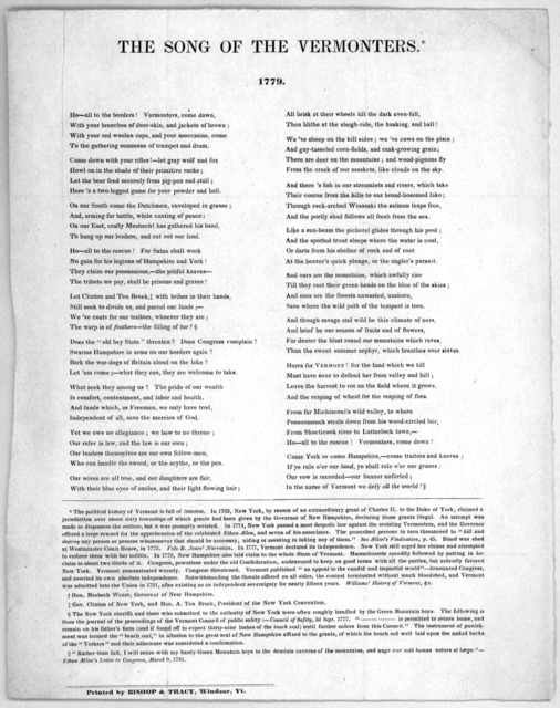 The song of the Vermonters. 1779 ... [Reprinted at] Windsor by Bishop & Tracy.
