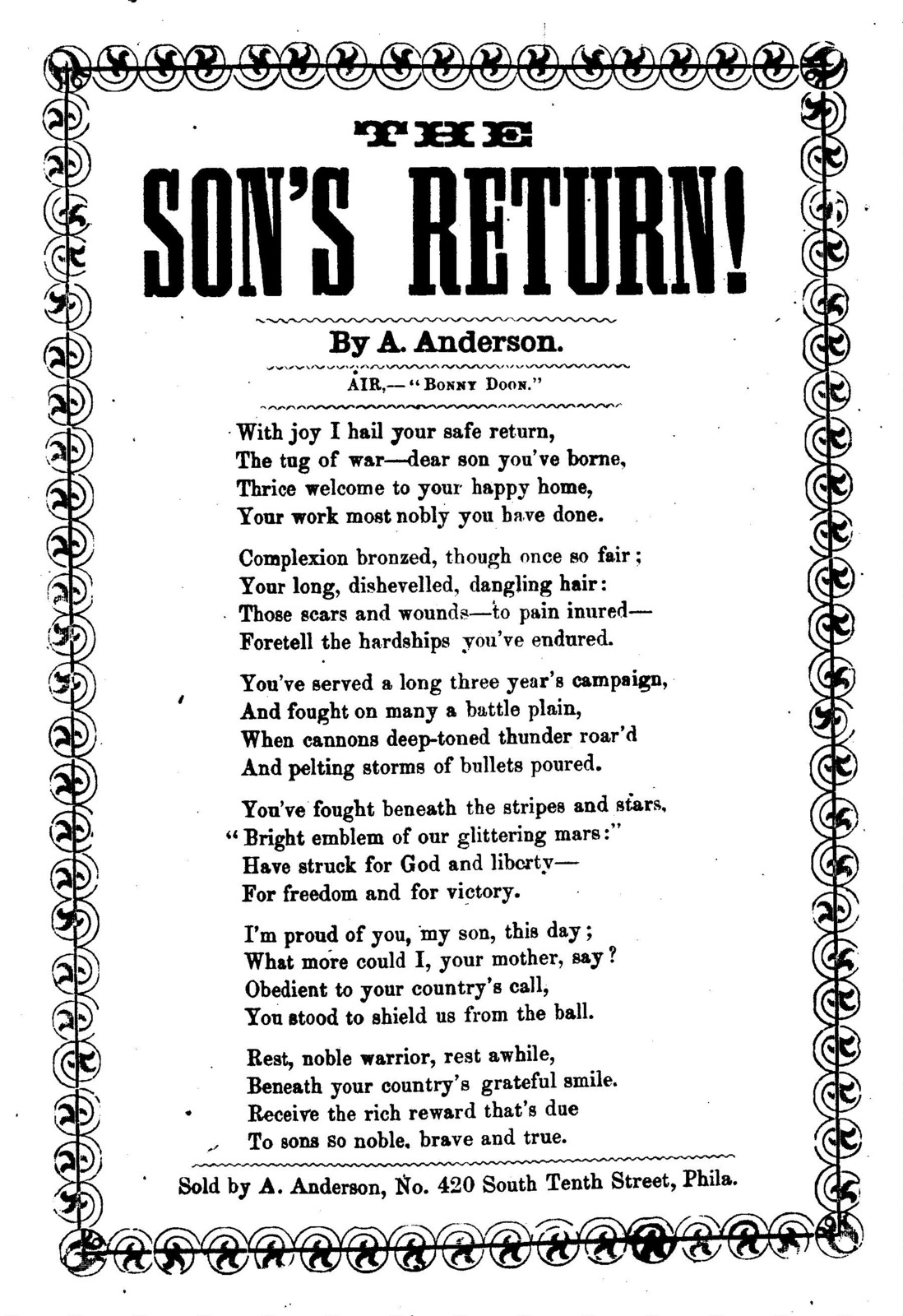 The son's return! By A. Anderson. Sold by A. Anderson, No. 420 South Tenth Street, Phila