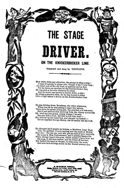 The stage driver. On the Knickerbocker Line. Composed and sung by Unsworth. H. De Marsan, Publisher, 38 & 60 Chatham Street N. Y