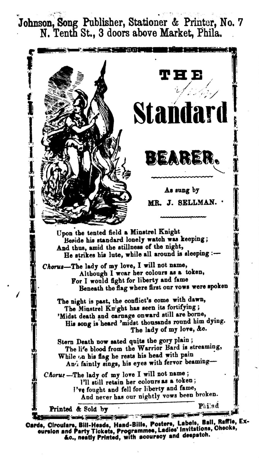 The standard bearer. Johnson, Song publisher, ... Phila