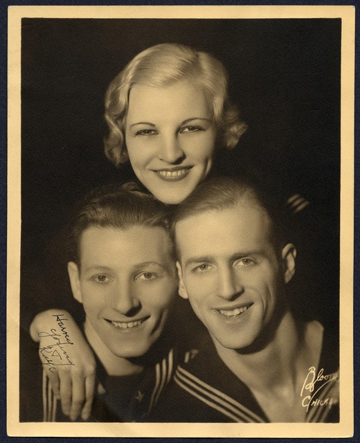 """[""""The  Three Terpsichoreans"""" (Dave Harvey, Danny Kaye and Kathleen Young), smiling and wearing sailor costumes, pose with their heads together pyramid-style]"""