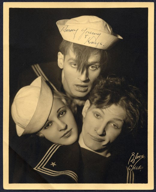 "[""The  Three Terpsichoreans"" (Dave Harvey, Danny Kaye and Kathleen Young) wearing sailor hats and silly expressions, pose with their heads together pyramid-style]"
