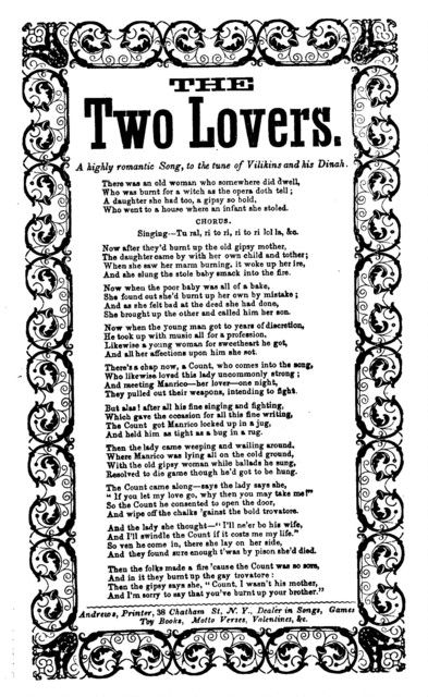 The two lovers. A highly romantic song, to the tune of Vilikins and his Dinah. Andrews, Printer, 38 Chatham Street, N. Y