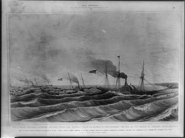 The U. States steamers, Scorpion, Spitfire, Vixen and Scourge; with 40 barges in tow, crossing the bar at the mouth of Tobasco River, Mexico