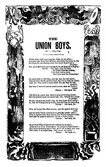 The Union boys. Air: Flip flap. H. De Marsan, Publisher, 54 Chatham, St. N. Y