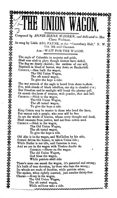 The Union wagon. Composed by Annie Irene Warren and dedicated to Miss Clara Weilman. Air.- Wait for the wagon