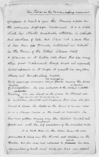 """""""The Woman Suffrage Movement."""" Address at the Bethel Literary and Historical Society, Washington, D. C. - Folder 1 of 3"""